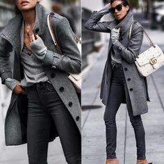 Fashion Fold Over Collar Single Breasted Plain Outerwear Coats - dressesstar Fashion Mode, Look Fashion, Winter Fashion, Womens Fashion, Fashion Trends, Ladies Fashion, Feminine Fashion, Cheap Fashion, Fashion Stores