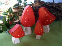 Red Wooden Mushrooms, set of 4 {etsy,  gingerlittle - Whimsical Waldorf inspired creations} 17.00 USD