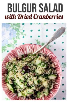 Bulgur Salad with Dried Cranberries – this easy and healthy salad is bursting with flavor! Everyone loves it! Bulgur Salad with Dried Cranberries – this easy and healthy salad is bursting with flavor! Everyone loves it! Spinach Dinner Recipes, Bulgur Recipes, Orzo Salad Recipes, Healthy Salad Recipes, Healthy Food, Dried Cherries, Dried Cranberries, Whole Foods 365, Avocado