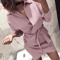fb34c986ca4 Рубашка платье 2018 женское осеннее платье длинный рукав отложной воротник  Повседневная футболка платье черное розовое повседневное
