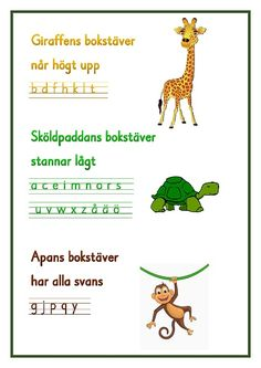 Giraffens bokstäver .pdf – OneDrive Teacher Education, School Teacher, Learning Support, Kids Learning, Alphabet Activities, Classroom Activities, Learn Swedish, Swedish Language, Kids Writing