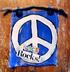 PeAcE RoCKS MIXED MEDIA wall hanging II blue by destash4u on Etsy, $15.00
