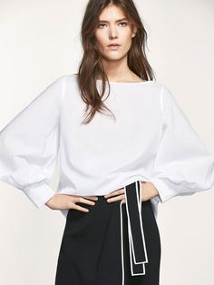 Autumn Spring summer 2017 Women´s COTTON BLOUSE WITH CUFFS DETAIL at Massimo Dutti for 89.5. Effortless elegance!