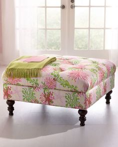 """Rose"" Small Ottoman by Lilly Pulitzer at Horchow."