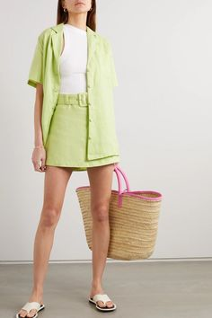Lime green + NET SUSTAIN Charlita linen shirt | Faithfull The Brand | NET-A-PORTER Trendy Outfits, Summer Outfits, Cute Outfits, Summer Clothes, Suzy, Lime Green Outfits, Harley Quinn, Faithfull The Brand, Linen Shorts