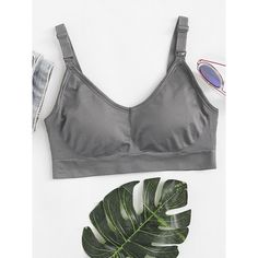 Detachable Straps Sports Bra (€10) ❤ liked on Polyvore featuring activewear, sports bras, grey and grey sports bra
