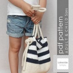 The Bryce Crochet Bag PATTERN includes Adult & by LakesideLoops