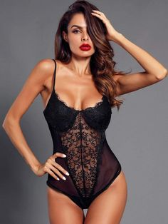 To find out about the Eyelash Lace & Mesh Teddy Bodysuit at SHEIN, part of our latest Sexy Lingerie ready to shop online today! Teddy Lingerie, Lingerie Set, Women Lingerie, Lingerie Underwear, Lace Bustier, Lace Babydoll, Teddy Bodysuit, Mesh Bodysuit, Boxer