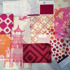 Meredith Heron Design  #Boston  Nursery Fabric Scheme