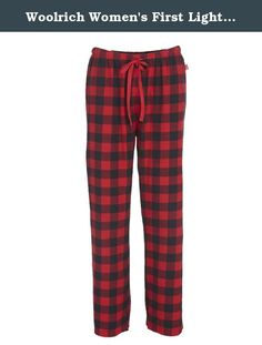 Woolrich Women's First Light Flannel Pajama Pant, Red/Black Buffalo, X-Small. The iconic buffalo check plaid made with our incredibly soft 100 percent cotton flannel make our first light flannel pant the perfect option after a long day-or before it's underway. With a relaxed elastic waistband and functional draw cord.