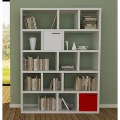 Berlin Tall Wide Cube Stroage Bookcase in Pure White Tema Home Solid Oak Bookcase, Large Bookcase, Solid Wood Shelves, Etagere Bookcase, Bookcase Storage, Bookcase Shelves, Ladder Shelving Unit, Shelving Display, Desks
