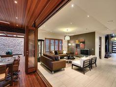 Beige Colours Open Plan Living Room With Floorboards & Bi-Fold Doors Living Room Interior Ideas #1897