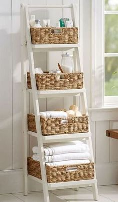 28 Small Bathroom Storage Ideas To Fix Clutter - Gail Boutilier - Mix 28 Small B. 28 Small Bathroom Storage Ideas To Fix Clutter - Gail Boutilier - Mix 28 Small Bathroom Storage Ideas To Fix Clutter - Gail Boutilier - Ladder Storage, Storage Baskets, Small Storage, Storage Boxes, Extra Storage, Storage Shelves, Vertical Storage, Craft Storage, Ladder Shelves