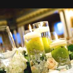 Pear/ crystal candle centerpieces