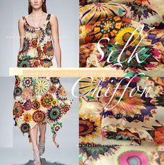 Mandala Fabric Printed Silk Chiffon Bohemian by fabricAsians