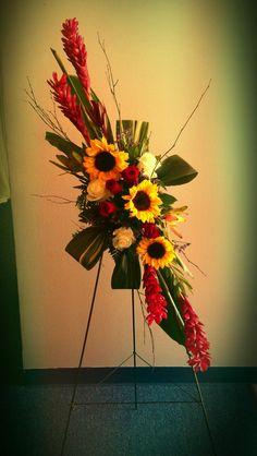 Sunflowers, ginger, easel design for an artist funeral
