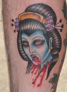 Severed Geisha Head Tattoo by John Laramy, Northeast Tattoo and Piercing, Minneapolis, MN, Twin Cities, Girl Head Tattoo, Japanese