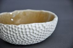 Amber Hive Textured Ceramic Bowl - Modern Kitchen Porcelain White Serving Bowl