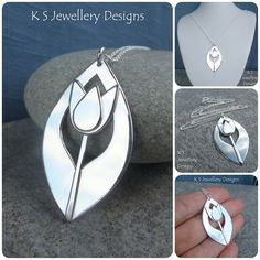 Shiny Tulip Drop Sterling Silver Pendant - Handmade Metalwork Flower Floral £80.00