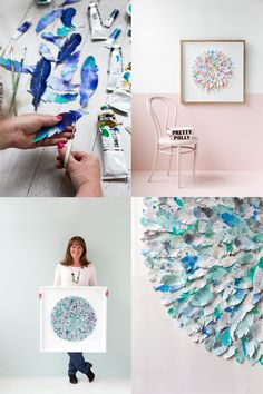 Mondocherry, an Australian design team of 2 sisters, create fabulous collages using feathers and flowers of painted paper. Via decor8 blog.
