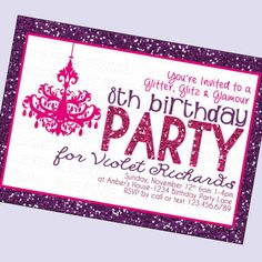 girl birthday party invitation girl birthday by BlueFenceDesigns, $11.00
