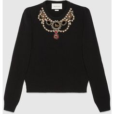 Gucci Embroidered Wool Knit Top (25.465.685 IDR) ❤ liked on Polyvore featuring tops, sweaters, black, crop top, gucci, embroidery top, puffed sleeve top and layered crop top