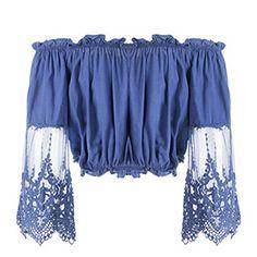 ROPALIA Women's Summer Off Shoulder Lace Floral Blouse Fashion Crop Tops T-shirts
