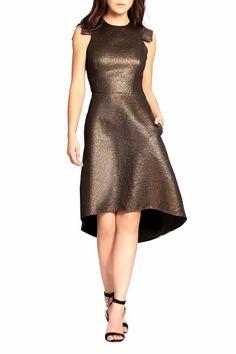 Sleeveless metallic jacquard dress has a jewel neckline and shoulder caps. Dress has pockets and princess seams. A-line cocktail dress.   Metallic Cocktail Dress by Halston Heritage. Clothing - Dresses - Mini Clothing - Dresses - Cocktail New Jersey