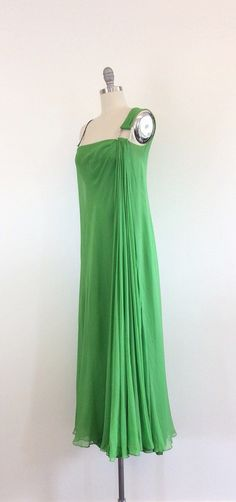 60s Kelly Green Bon Marche Chiffon Party by CheshireVintageShop