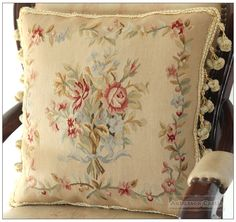 RIBBON ROSE BOUQUET Aubusson Tapestry Pillow Cushion Vintage French Home Decor #AUBUSSONCASTLE