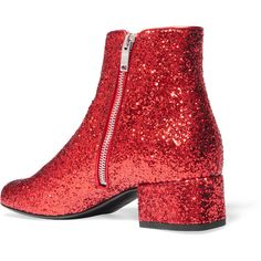 Saint Laurent Babies glittered leather ankle boots, Women's, Size:... ($675) ❤ liked on Polyvore featuring shoes, boots and ankle booties