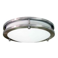 Ceiling Light Fixture Integrated LED Flush Mount Brushed Nickel Kitchen Hallway  #HomeSelects
