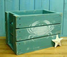 Wooden Crate Box Side Table With Crab or Starfish Beach House Decor via Etsy