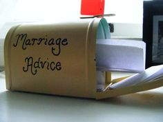 put this little mailbox out on a table at your wedding/ reception, and see what people write. cute idea.