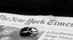 NYC Elopement - Wedding Rings & NY Times paper from the day with date in shot
