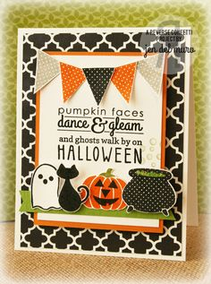 Reverse Confetti | Spooky Cuties, Spooky Sentiments, Celebrate Cake | Halloween Card by Jen del Muro