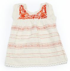 """LAST 1 LEFT: Size 3-5 Years  Handmade embroidered """"manta"""" cotton top/dress.  Natural, unbleached raw cotton. Naturally dyed thread.  Made in Mexico.  All pieces are handmade, therefore may vary in color and pattern design.  Care: HANDWASH. Do not wet the embroidery, it can easily bleed. Pat and lay  flat to dry. Lay a towel in the middle so the back and from of the garment  are not touching."""