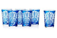 S/6 Moroccan Tea Glasses, Royal Blue | One Kings Lane | With bright colors and an intricate design, these Moroccan tea glasses are too pretty to be used solely for special occasions. Add exotic flair to your everyday life and sip with them as often as possible | 5 oz each | hand wash | 120.00 retail | 59.00 OKL