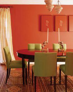 orange & green dining