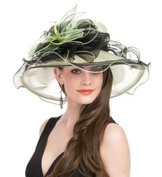 eeec66a1a634e Saferin Women Kentucky Derby Church Dress Organza Hat Wide Brim Flat Hat  Black at Amazon Women s Clothing store  Wedding HatsChurch ...