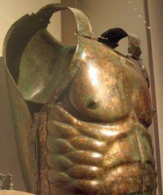 Etruscan muscled bronze armor from the tomb of the Warrior at Lanuvium. It shows signs of having been paired with both linen and leather. C.500BC