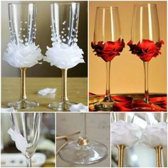 Decorated Wine Glasses With Flowers And Beads | The WHOot