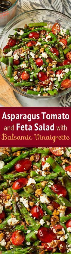 Asparagus Tomato and Feta Salad with Balsamic Vinaigrette - Best spring salad…