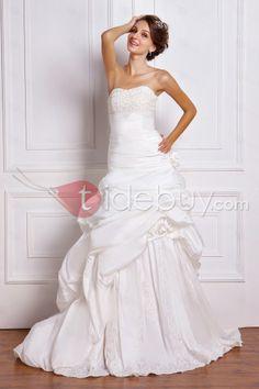 Aライン/プリンセスストラップレス床長さのチャペルトレインビーズウェディングドレス