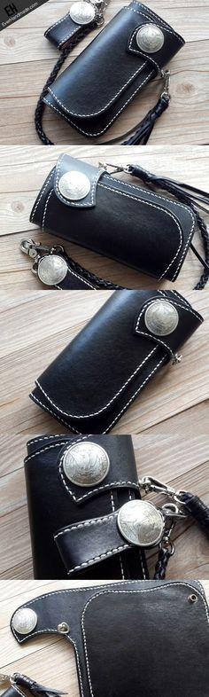 Handmade leather black biker wallet chain bifold Long wallet purse clu | EverHandmade