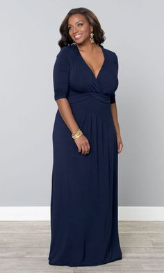 49a44213defb9 Some occasions call for a maxi dress! With this stunning plus size navy  gown you