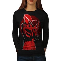 Red Anime Samurai Women NEW L Long Sleeve Tshirt  Wellcoda >>> Visit the image link more details.