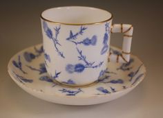 c.1870, ANTIQUE ROYAL WORCESTER BLUE THISTLE DEMITASSE CUP AND SAUCER, CHOCOLATE #ROYALWORCESTER