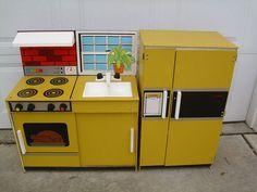 Vintage Kids Wooden Pretend Play Kitchen Stove Oven Sink Refrigerator