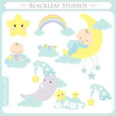Sweet Dreams Clip Art Instant Download sleep time, baby shower, sleeping, dreamy baby, moon, stars, clouds, rainbow - Personal Commercial